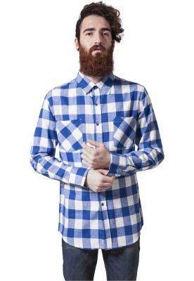Camasi in carouri barbati alb-albastru Urban Classics roial