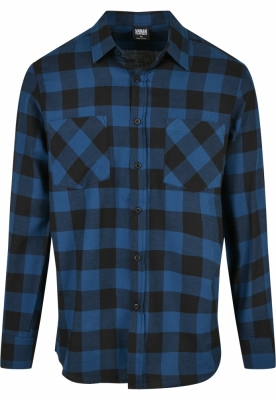 Camasi in carouri barbati albastru-negru Urban Classics