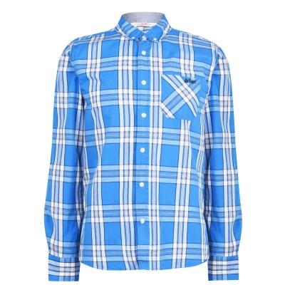 Camasi sport Lee Cooper cu Maneca Lunga pentru Barbati albastru alb bleumarin
