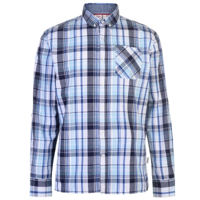 Camasi sport Lee Cooper cu Maneca Lunga pentru Barbati alb bleumarin albastru