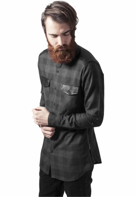 Camasi urban insertii piele negru-gri Urban Classics carbune