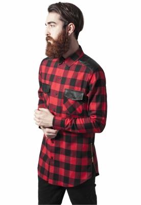 Camasi urban insertii piele negru-rosu Urban Classics