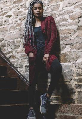 Cardigan dama tricotat rosu-burgundy Urban Classics