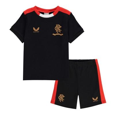 Castore Rangers Away Kit 2021 2022 pentru Bebelusi negru rosu