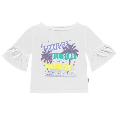 Tricou Converse Ruffle pentru fetite alb