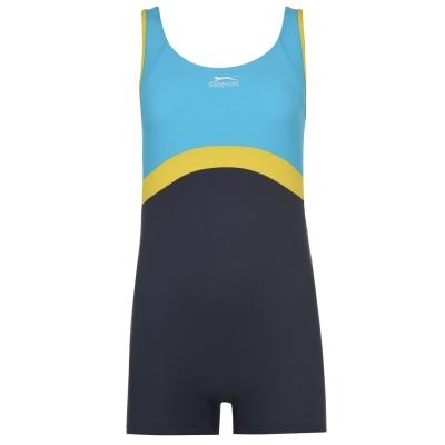 Costum de Inot Slazenger Boyleg pentru fetite albastru galben gri