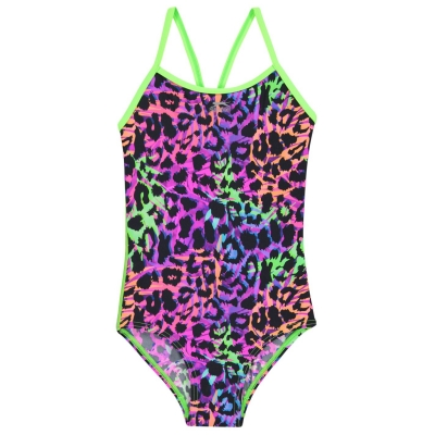 Costum de Inot Slazenger Thin Strap pentru fetite col leopard