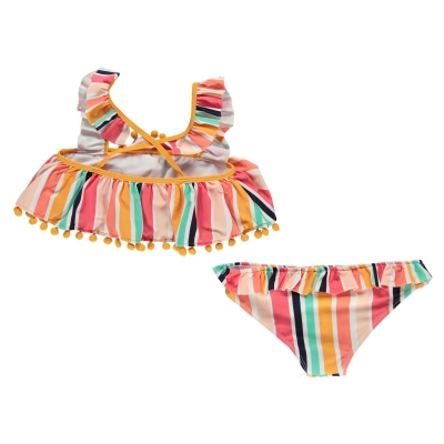 Costum de Inot SoulCal pentru fetite ochre dungi