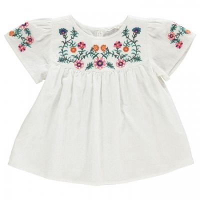 Crafted Nepp Embroidered Top pentru fete pentru Bebelusi alb