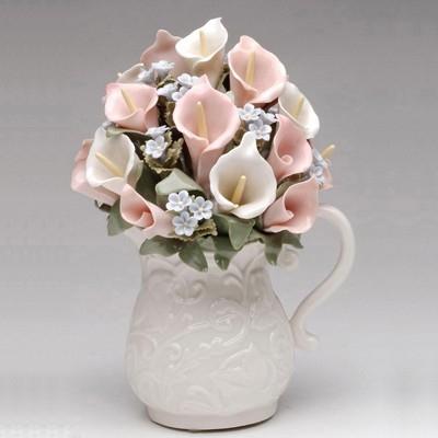 Cutiuta muzicala de portelan - Vaza cu flori