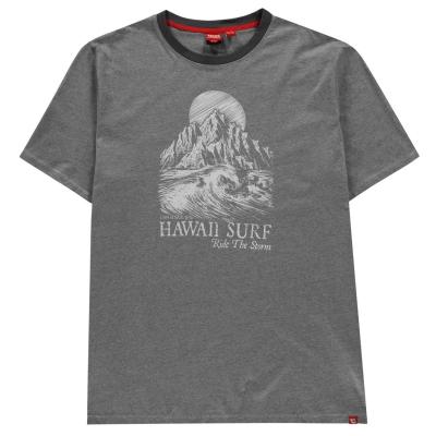 Tricou D555 Dakota Hawaii pentru Barbati gri stripe