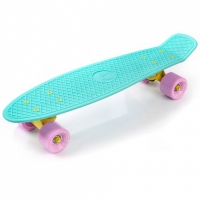 Placa skateboard METEOR plastic bleu / roz si galben 23718