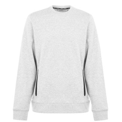 Bluze cu guler rotund DKNY Sport cu buzunar alb gri