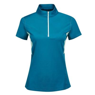 Tricou maneca scurta Dublin Blaze cu fermoar pentru Femei albastru roz