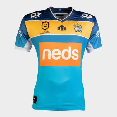 Tricou echipa Dynasty Sport Sport Gold Coast Titans pentru Barbati albastru auriu