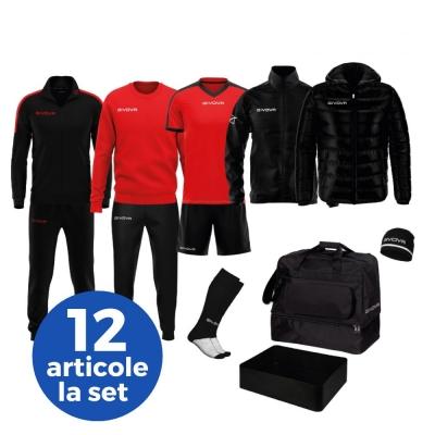 Echipament complet fotbal BOX REVOLUTION Givova negru rosu