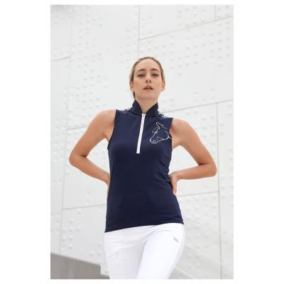 Tricouri Polo echitatie Sporty fara maneci pentru femei bleumarin alb
