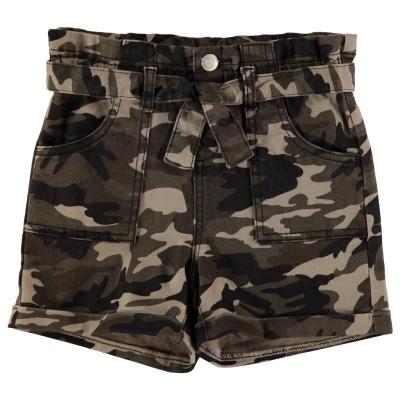 Pantaloni scurti Firetrap Camo pentru fetite oliv camuflaj