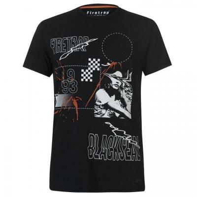 Tricou Firetrap Blackseal Print Embellished washed negru