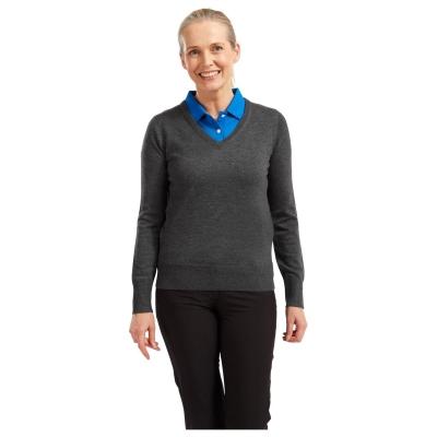Pulovere Footjoy Wool cu decolteu in V pentru Femei gri carbune