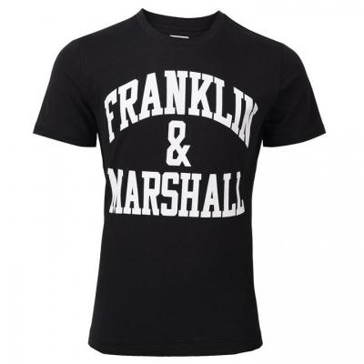 Tricou cu imprimeu Franklin and Marshall clasic Fit negru