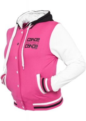 Hanorac cu gluga sport college pentru femei roz-alb Urban Dance