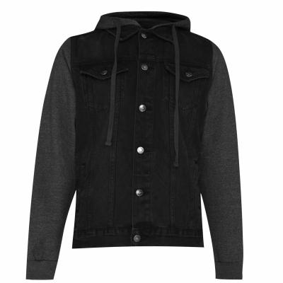 Jacheta Pulover Lee Cooper Sleeve pentru Barbati negru mid gri