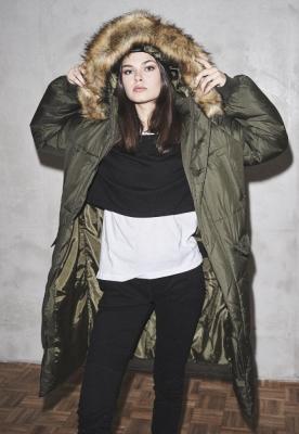 Geaca lejer blana artificiala Puffer pentru Femei oliv-inchis Urban Classics bej