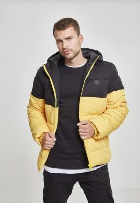 Geaca matlasata cu gluga doua culori galben-negru Urban Classics