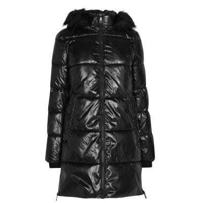 Geaca matlasata DKNY Glossy pentru femei negru