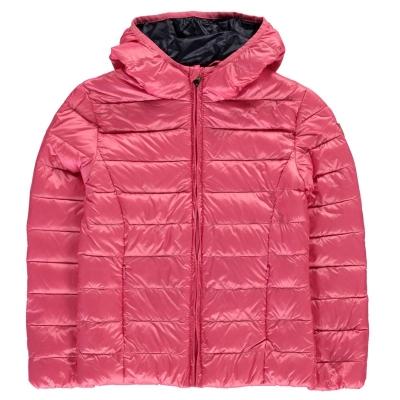 Geaca matlasata Guess termic cu gluga roz raro