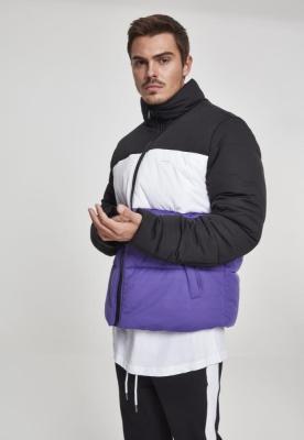 Geaca matlasata trei culori Boxy negru-violet Urban Classics alb