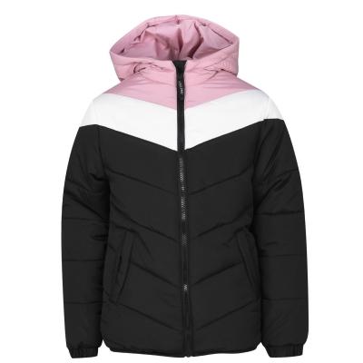 Geaca matlasata USA Pro Colour Block pentru fetite negru roz alb