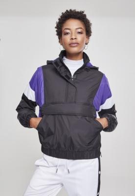 Geaca urban cu gluga si buzunare trei culori pentru Femei negru-violet Urban Classics alb