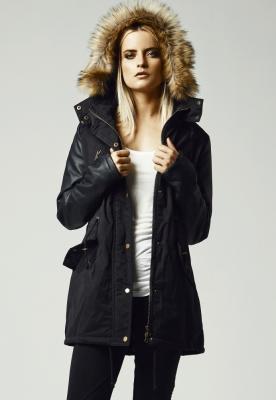 Geci de iarna lungi cu maneci imitatie piele negru-negru Urban Classics