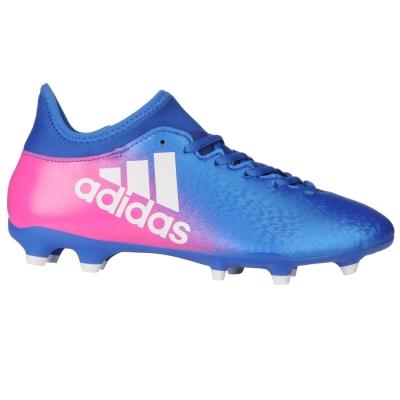 Ghete de fotbal adidas X 16.3 FG pentru Barbati albastru alb roz