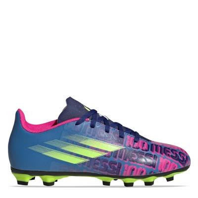 Ghete de fotbal adidas X Messi .4 FG pentru copii albastru roz