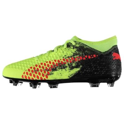 Ghete de fotbal Puma Future 18.4 FG pentru Copii galben rosu negru