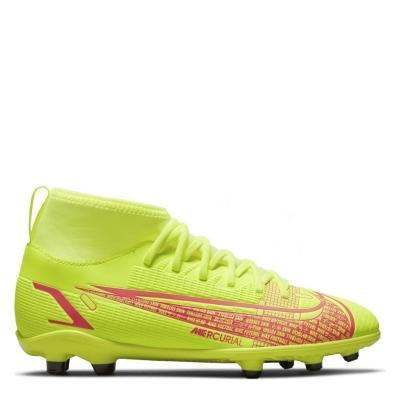 Ghete de fotbal Nike Mercurial Superfly Club DF FG pentru copii galben rosu inchis