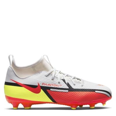 Ghete de fotbal Nike Phantom GT Academy DF FG pentru copii alb rosu inchis