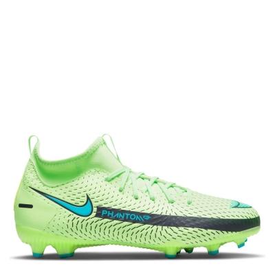 Ghete de fotbal Nike Phantom GT Academy DF FG pentru copii verde lime albastru deschis