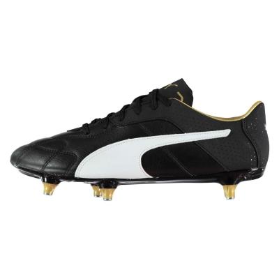 Ghete de fotbal Puma Esito C SG pentru Barbati negru alb auriu