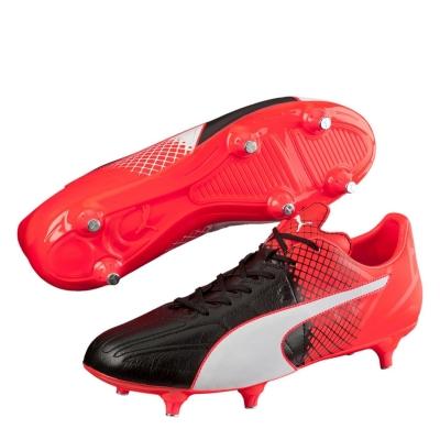 Ghete de fotbal Puma evoSpeed 3.5 din piele SG negru rosu