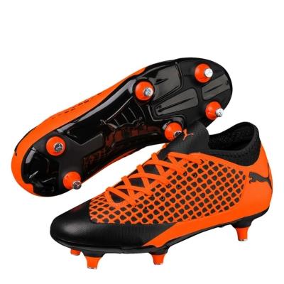 Ghete de fotbal Puma Future 2 gazon sintetic pentru copii negru portocaliu
