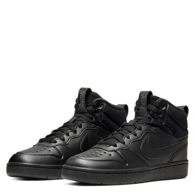 Ghete Nike Court Borough Mid 2 Big Shoe pentru Copii triple negru
