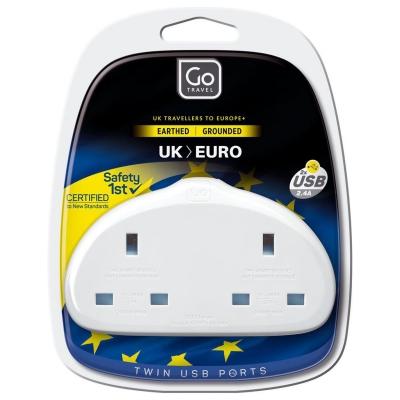 Go Travel UK to EU 2 Plug Adaptor alb