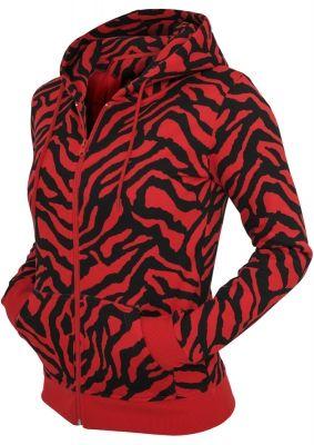 Hanorace dama cu model zebra cu fermoar rosu-negru Urban Classics
