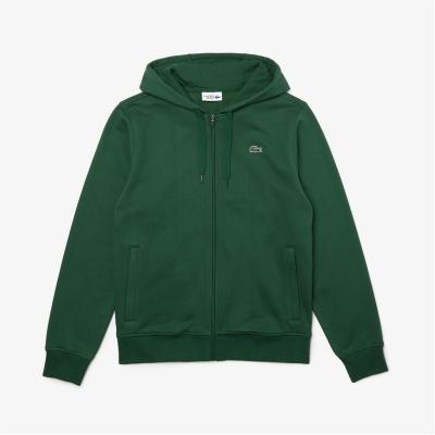 Hanorac Lacoste Logo cu fermoar verde s30