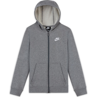 Hanorac Nike Sportswear Club Big () French Terry Full-cu fermoar pentru baieti pentru Copii gri carbon alb