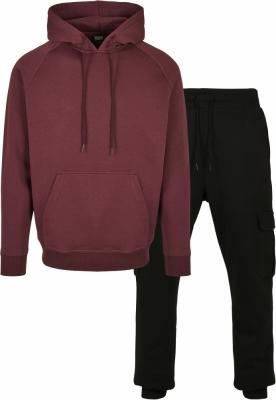 Hanorac Pantaloni sport Blank + Cargo Suit . cherry+black Urban Classics rosu negru